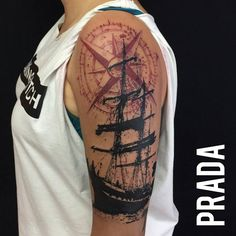 #tattoo #madrid #pirate #ship #barco #pirata #rose #rosa #vientos #ink #tinta #manchas #dot #work #dotwork #puntos #puntillismo