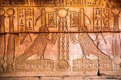 Egypt, Qena, Bas relief scene in Temple of Hathor Dandarah or Dendera, Ptolemaic period, 1st century BC