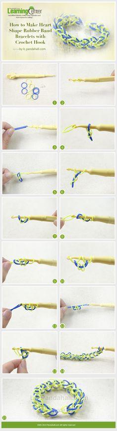 How to Make Heart Shape Rubber Band Bracelets with Crochet Hook