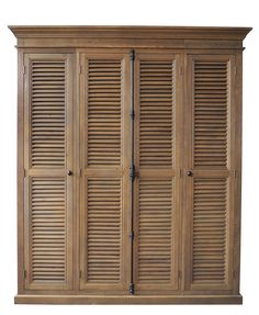 Wardrobe Armoire Cabinet Shutter Louver Front British Island Style Vertical Lock #rt #BritishColonial