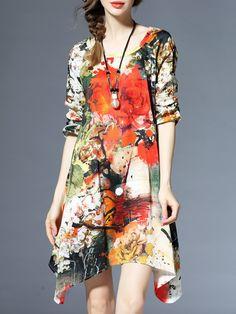 Shop Midi Dresses - Multicolor Crew Neck Vintage Asymmetrical Floral-print Midi Dress online. Discover unique designers fashion at StyleWe.com.
