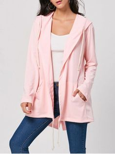 Shop for Drawstring Long Hooded Coat PINK: Jackets & Coats XL at ZAFUL. Only $20.26 and free shipping!