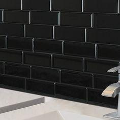 Smart Tiles Mosaik Metro Nero x Peel & Stick Subway Tile in Black Adhesive Backsplash, Peel Stick Backsplash, Black Backsplash, Adhesive Tiles, Kitchen Backsplash, Peel And Stick Countertop, Backsplash Ideas, Stick On Wall Tiles, Peel And Stick Tile