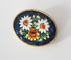 Vintage Mosaic Flower Brooch Daisy Blue by LovesVintageDelights, $20.00