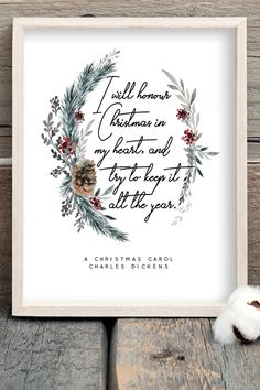 A Christmas Carol Book Quotes Printable Scrooge Charles Dickens Winter Decor Wall Art Literary Poster Literature Print Digital Download