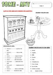 English teaching worksheets: Some/any
