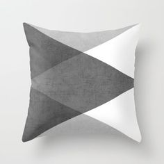 black and white triangles throw pillow by Her Art