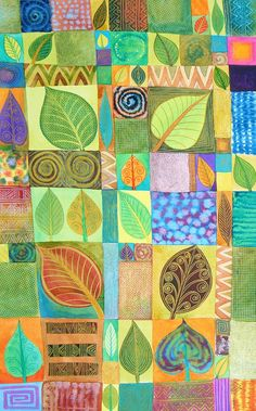 Abstract With Leaves by Jennifer Baird - #abstract #art #painting