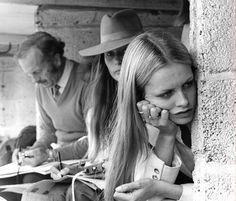 Twiggy, Colin Chapman and Nina Rindt at the 1970 British Grand Prix.