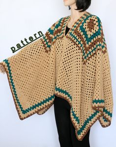 THIS LISTING IS FOR THE PDF PATTERN ONLY NOT FOR THE FINISHED PRODUCT. This vintage poncho is very easy to make it, even the beginner can do! Stay warm this winter with my original women's poncho This straightforward crocheted poncho PDF tutorial is easy to follow and will result in a Youll