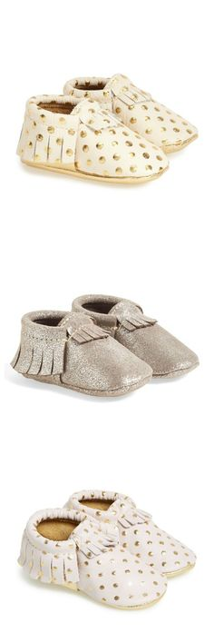 These shimmery baby moccasins are too cute for words.