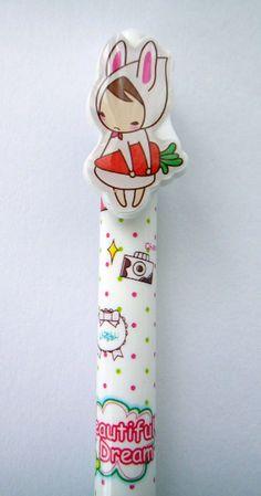 Cute Little Girl In Bunny Rabbit Costume Holding A Carrot White Polka Dot Ballpoint Pen From Korea With Blue Ink via Etsy