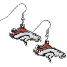 Denver Broncos Chrome Dangle Earrings