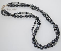 Stunning Double Strand Swarovski Crystal Pearl and Bead Necklace