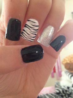 Image via Zebra nails designs one nail Image via Teal and black zebra. Image via Step By Step Nail Art Tutorials For Beginners Zebra Nails Art Image via Acrylic nail desig Zebra Nail Designs, Zebra Nail Art, Nail Art Designs 2016, Latest Nail Designs, White Nail Art, White Nails, Black Nails, Nails Design, White Manicure
