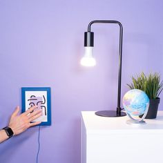 Paint your own light switches and hide behind your artwork! Using the Touch Board, Electric Paint and Philips Hue, you can quickly create your own smart home interfaces. Wireless Light Switch, Smart Home, Floating Nightstand, Light Switches, Hue, Artwork, Projects, Electric, Tutorials