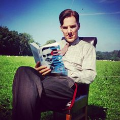 Benedict during a break while filming The Imitation Game.