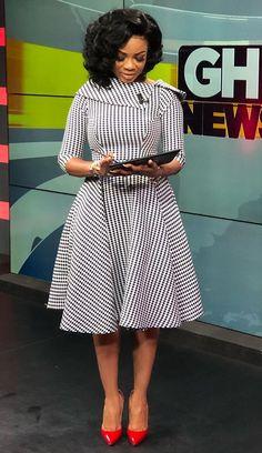 Newscaster Serwaa Amihere in work attire, work fashion, corporate attire, corporate fashion.You can find Corporate attire. Latest African Fashion Dresses, African Dresses For Women, African Print Fashion, Africa Fashion, African Attire, Women's Fashion Dresses, Ankara Fashion, African Prints, African Fabric