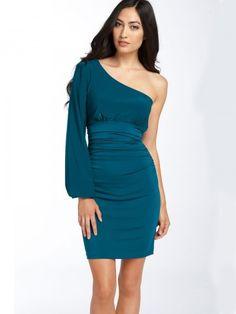 (HUNG020612 )2013 Spring Style Sheath / Column One Shoulder Ruffles Long Sleeves Knee-length Chiffon Green Cocktail Dress / Ho