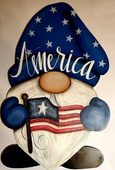 July Crafts, Holiday Crafts, Rock Crafts, Arts And Crafts, Gnome Paint, Tole Painting, Paint Party, Painting Patterns, Fourth Of July