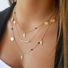 New jewelry choker necklace gold leaf bohemian Crystal Necklace Multilayer long necklace women bijoux collares necklaces