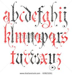pencil sketched gothic alphabet