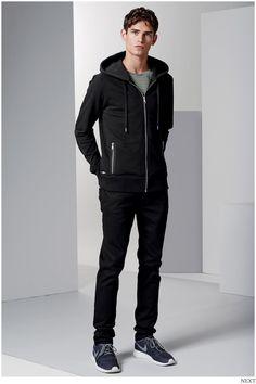 Shop this look on Lookastic:  http://lookastic.com/men/looks/grey-crew-neck-t-shirt-black-hoodie-black-jeans-navy-athletic-shoes/9481  — Grey Horizontal Striped Crew-neck T-shirt  — Black Hoodie  — Black Jeans  — Navy Athletic Shoes