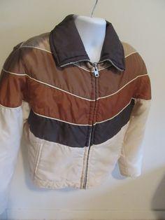 Vintage 1970's-80's mens brown ski jacket hipster puffer coat M. via Etsy.