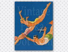 Clip Art Print Swimmer Divers Vintage by VintagePolkaDotcom