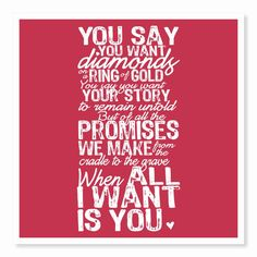 Typography Art Print All I Want Is You by HouseofTenderBeasts, $30.00