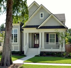 Perfect exterior - color, siding, front door, double columns  The Merrill, plan #1209