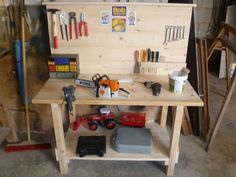 Workbench for children building instructions to build yourself - Wood Projects Carpentry Projects, Woodworking Projects For Kids, Wood Projects, Kids Garage, Kids Workbench, Workbench Designs, Kids Wood, Building Toys, Pallet Furniture