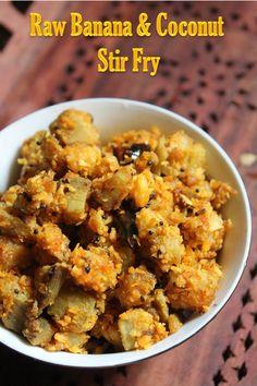 Banana Curry, Raw Banana, Banana Coconut, Stir Fry Recipes, Potato Recipes, Cooking Recipes, Banana Recipes Indian, Indian Food Recipes, Vegetarian Cooking