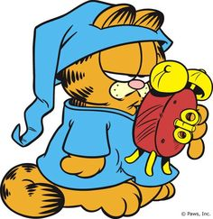 Wake me up when it's Tuesday, sleepy cat, cool cats, Garfield.