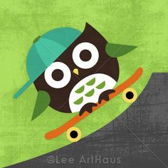Have fun with your woodsy friends with this skateboarding owl print. #pinparty