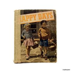 Antique Childrens Poetry Book  Happy Days  Vintage by CityBeepster
