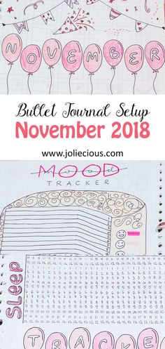 November Bullet Journal Setup - Plan With Me. Cute birthday theme filled with confetti, cake and gift box doodles.