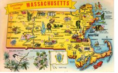 Massachusetts State Map Vintage Postcard by heritagepostcards, $2.75