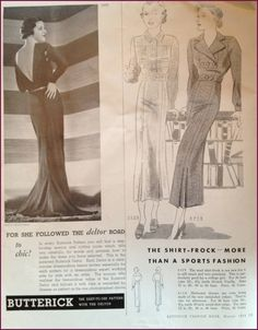 Butterick Fashion Book, Winter 1934 featuring Butterick 5868 (Evening Frock), 5529 and 5718