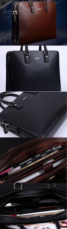 25d8aec77931 Handmade leather men Briefcase messenger large vintage shoulder