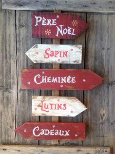 Sur commande décoration de Noël panneau de direction avec flèches en bois de palette : Accessoires de maison par littlepalette