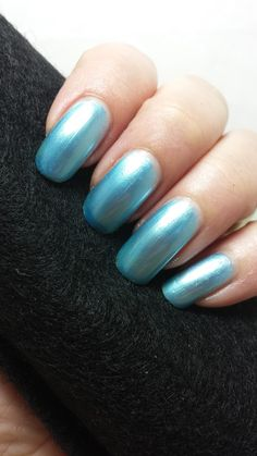 This is a soft baby blue metallic polish.My husband's favorite polishes are the metallics. He thinks there shouldn't be any other types, just metallic.I have on 2 coats with a high gloss top coat.