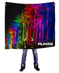 RUKES Rainbow Palms Blanket