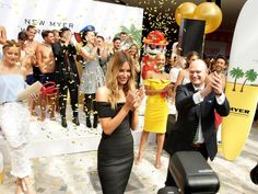 MODEL Jennifer Hawkins was mobbed by fans as she unveiled a new Myer store on the northern beaches.