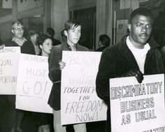 Members of the San Francisco Ad Hoc Committee To End Racial Discrimination protest outside the Oakland Tribune building in downtown Oakland, California, demanding an increase in minority employees at the paper | Picture This
