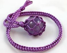 Amethyst Crystal Ball Purple Satin Cord Wrapped Healing Necklace - 6 Pointed Star