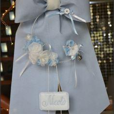 Fiocco di nascita azzurro - Ricameria Marco polo