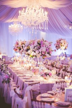 2019 Brides Favorite Purple Wedding Colors---romantic purple centerpieces with s. 2019 Brides Favorite Purple Wedding Colors---romantic purple centerpieces with soft flowers and purple table cover and t. Wedding Reception Ideas, Ballroom Wedding Reception, Romantic Wedding Receptions, Romantic Weddings, Wedding Table, Tent Reception, Tent Wedding, Glamorous Wedding, Blush Weddings