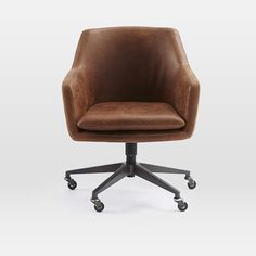 Helvetica Leather Office Chair   West Elm