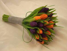 Purple and Orange Tulip Wedding Bouquet